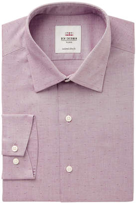 Ben Sherman Men's Slim-Fit Wine Pinpoint Dobby Dress Shirt