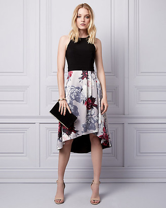 Le Château Floral Print Satin Halter Dress