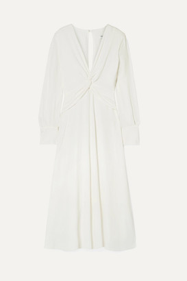 Equipment Faun Knotted Crepe Midi Dress - White