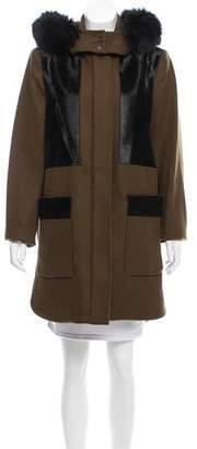 Zac Posen Fur-Trimmed Wool-Blend Coat w/ Tags