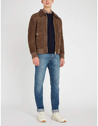 Eleventy Shearling-lined suede jacket