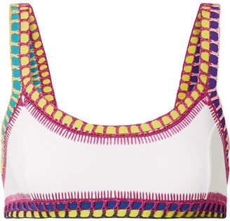 Kiini Yaz Crochet-trimmed Bikini Top - White