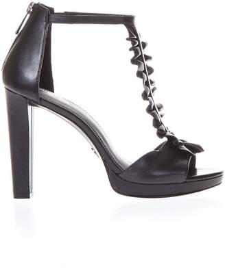 MICHAEL Michael Kors Black Leather Sandals With Ruffle Detail