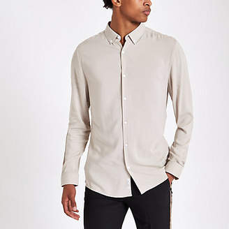 River Island Stone viscose long sleeve shirt