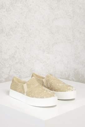 Forever 21 Crushed Velvet Slip-On Sneakers