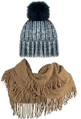AERUSI Women's Melinda Warm and Cozy Knitted Beanie and Soft Plush Infinity Scarf Bundle