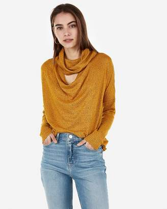 a5e58c3d222bb4 Express One Eleven Brushed Cut-Out Cowl Neck Top
