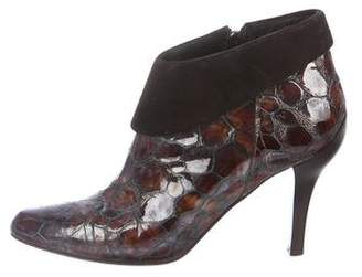 Donald J Pliner Embossed Patent Leather Booties