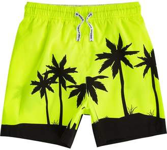 River Island Boys bright Yellow palm tree swim shorts