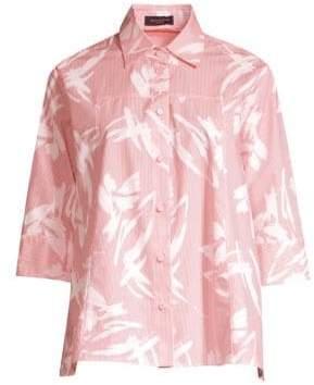 Piazza Sempione Brushstroke Striped Button-Down Shirt