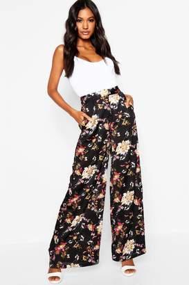 boohoo Satin Oriental Floral Wide Leg Trouser
