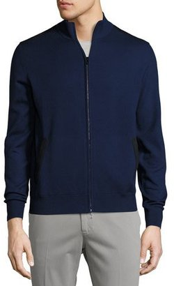 Loro Piana Braintree Cashmere-Silk Bomber Sweater $2,695 thestylecure.com
