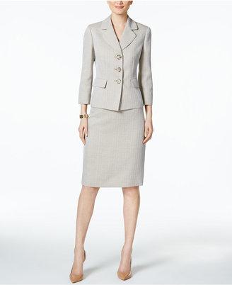 Le Suit Herringbone Three-Button Skirt Suit $200 thestylecure.com