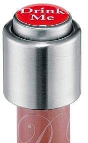 Cilio Stainless Steel Wine Bottle Stopper, Drink Me