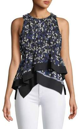 3.1 Phillip Lim Painted Dot Chiffon Tank with Rib Details