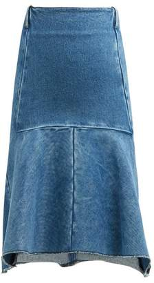 Balenciaga Fluted Denim Midi Skirt - Womens - Denim