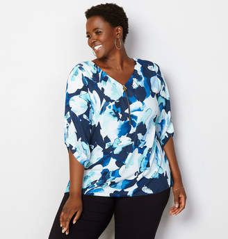 Avenue Zipper Front Floral Blouse