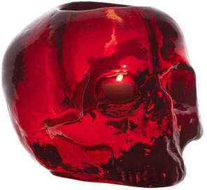 Kosta Boda Orrefors Kostaboda Red Still Life Skull Candleholder