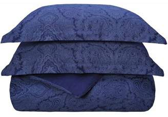 Blend of America Superior 600 Thread Count Wrinkle-Resistant Cotton Italian Paisley Design Duvet Cover Set with Sham