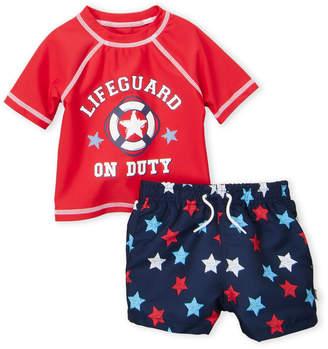 Flapdoodles Infant Boys) Two-Piece Lifeguard Rashguard & Board Shorts Set
