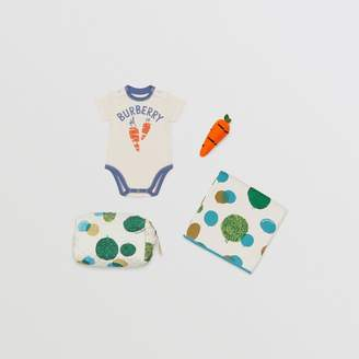 Burberry Carrot and Tree Print Three-piece Baby Gift Set , Size: 3M, Beige