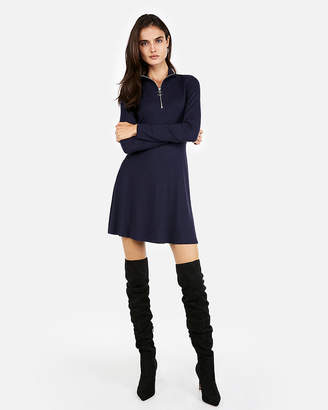Express Zip Mock Neck Fit And Flare Mini Dress