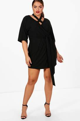 boohoo Plus Ella Strap Wrap Tie Waist Dress