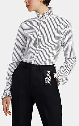 THE GIGI Women's Luna Ruffle-Trimmed Striped Cotton Blouse