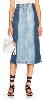 Proenza Schouler Pswl PSWL Slit Denim Skirt in Two Tone | FWRD