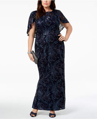 Adrianna Papell Plus Size Caped Lace Gown