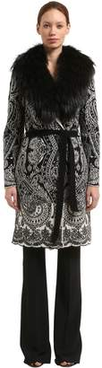 Roberto Cavalli Wool Blend Jacquard Coat With Fur Trim