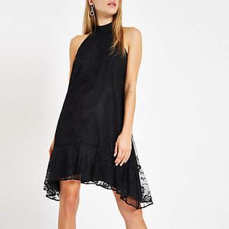 River Island Womens Black lace halter neck swing dress