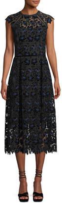 Shoshanna Massena Lace Dress w/ Velvet Flowers