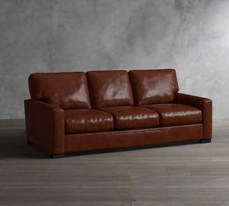 At Pottery Barn · Pottery Barn Turner Square Arm Leather Sofa