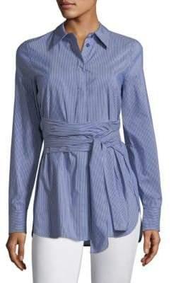 Lafayette 148 New York Cordelia Tie Waist Poplin Shirt