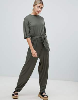 092e94ed59 Asos Design DESIGN t-shirt jumpsuit with tie waist
