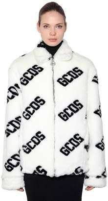 GCDS Logo Faux Fur Jacket