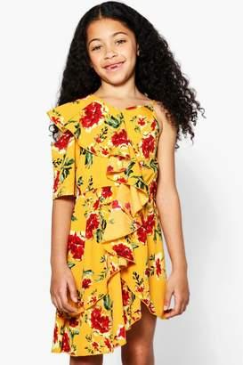 boohoo Girls Floral Print Ruffle Skater Dress