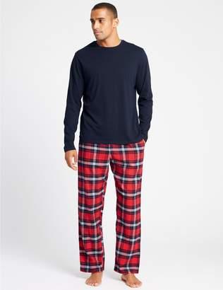 Marks and Spencer Brushed Cotton Checked Pyjama set