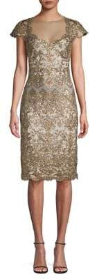 Tadashi Shoji Cap Sleeve Sequin Lace Sheath Dress