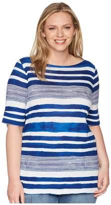 Lauren Ralph Lauren Plus Size Striped Boat Neck Top Women's Clothing