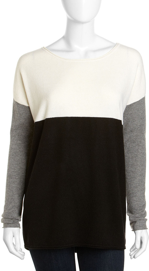 Vince Wool-Cashmere Tricolor Colorblock Sweater, Marshmallow