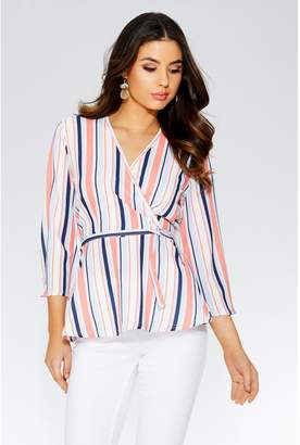 Quiz Stripe Crossover 3/4 Sleeve Top