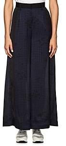 Sacai WOMEN'S CHECKED & HEART-PRINT WIDE-LEG PANTS - BLK/WHT SIZE 2