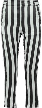 Ann Demeulemeester Cropped Striped Silk-satin Pants - Black