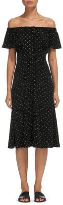 Whistles Off-the-Shoulder Polka Dot Dress $279 thestylecure.com