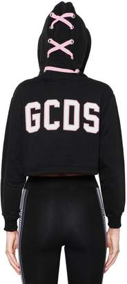 GCDS LACE-UP HOODED COTTON CROPPED SWEATSHIRT