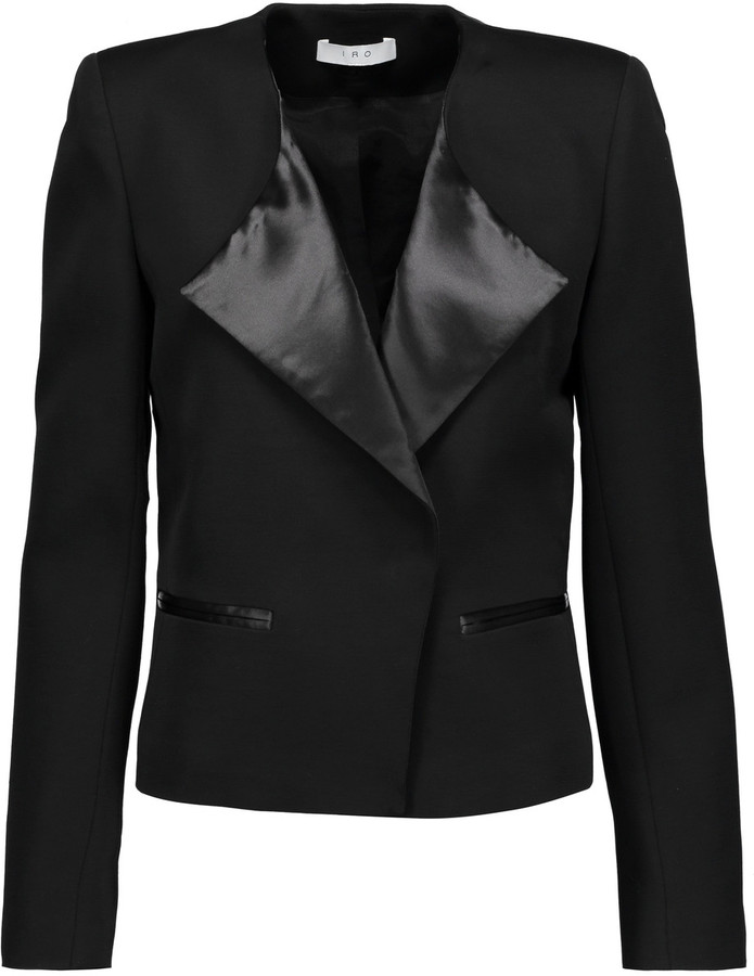 IROIRO Sarix satin and leather-trimmed wool-blend jacket