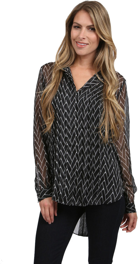 Zoa Tile Prints Pleated Front Shirt in Black