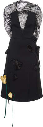 Prada Deep V-Neck Lace Appliqué Midi Dress Size: 38